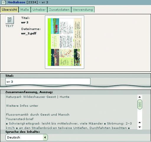 Metadaten einer PDF-Datei mit Textauszug und automatisch erkannter Sprache.