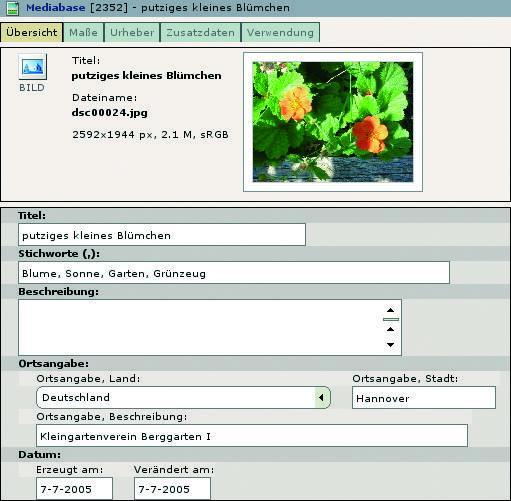 Zu jeder Datei werden Metadaten verwaltet die angezeigt und bearbeitet werden können.