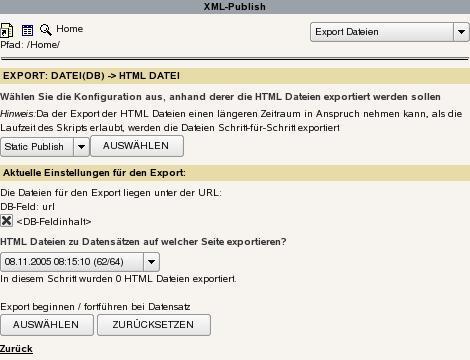 Export der HTML-Dateien.