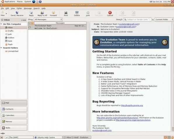Das zur Standardinstallation von Ubuntu 6.10 gehörende Outlook-Pendant Evolution bietet neuerdings auch eine übersichtliche Drei-Spalten-Ansicht.