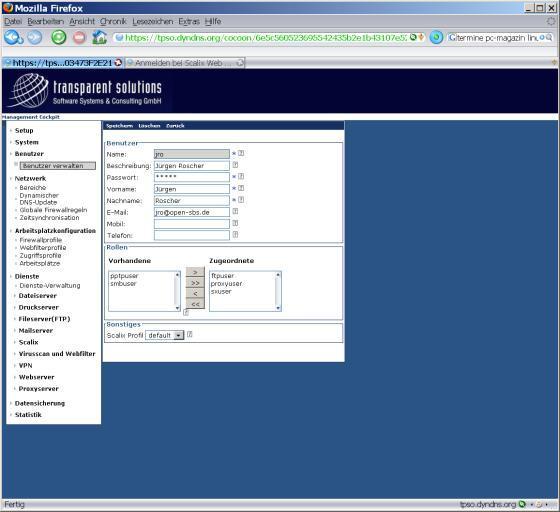 Über die webbasierte Admin-Oberfläche können Konfigurationen aus dem Intra- und Extranet vorgenommen werden, etwa in der Benutzerverwaltung.