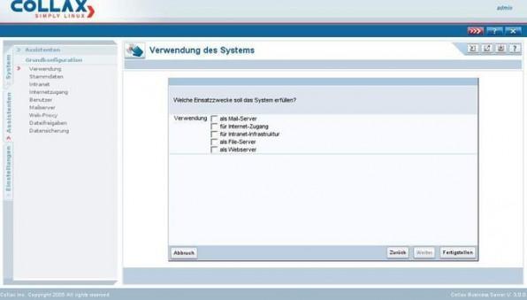 Leichte Installation: Auf der Benutzeroberfläche von Collax  sieht der Administrator alle Einstellungen der Lösung, insgesamt unterstützen neun Installationsassistenten bei der Konfiguration.