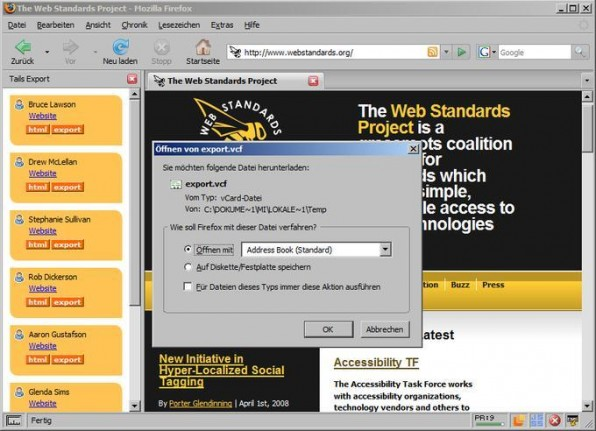 Tails Export ermöglicht es, Kontaktdaten als VCF-Datei in eine Adressverwaltung zu importieren.