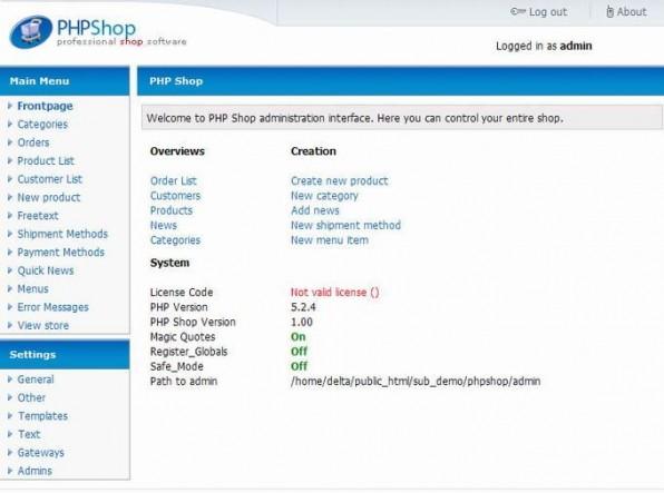 Das Backend von phpShop ist – auch aufgrund des geringeren Funktionsumfangs – relativ einfach gehalten. Einsteiger dürften damit sehr schnell zurechtkommen.