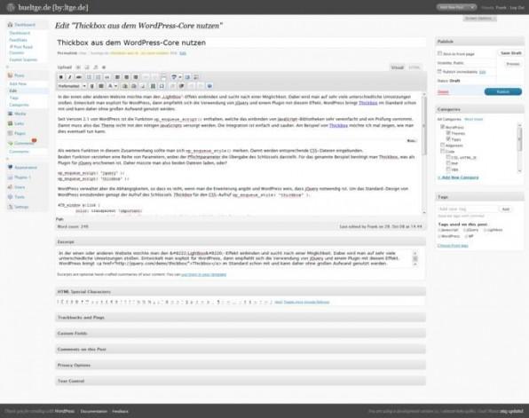 Mit der neuen Version 2.7 wurde das Backend von WordPress deutlich überarbeitet. Im Bild: Bearbeiten eines Postings.