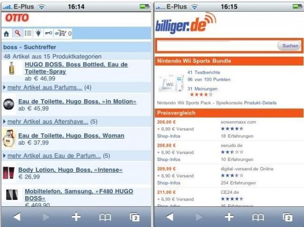 Das Versandhaus Otto und der Preisvergleichsdienst billiger.de haben ihre Portale für den mobilen Zugriff optimiert.