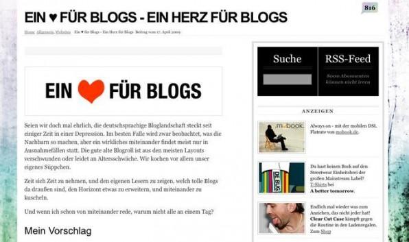 """Aufruf zu """"Ein Herz für Blogs"""" auf Stylespion.de. Über 500 machten mit."""