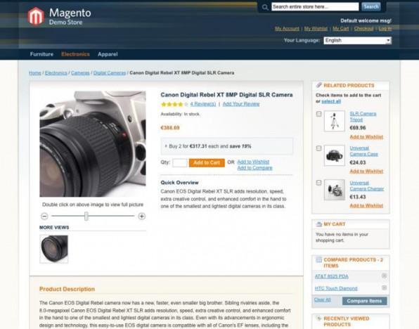 Der Demo-Shop von Magento zeigt bereits, welchen großen Funktionsumfang das Shop-System mitbringt: Besucher können zum Beispiel Produktfotos stufenlos zoomen, außerdem schlägt der Shop ähnliche Produkte vor.