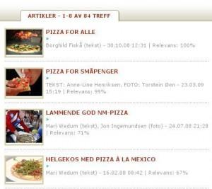 Eine Suche nach Pizza findet unterschiedlich relevante Ergebnisse.