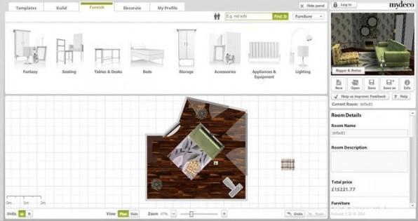 Mit dem 3D-Raumplaner lassen sich Zimmer designen und von der Lampe über das Sofa bis hin zu den Tapeten einrichten.