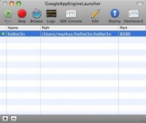 Mit dem GoogleAppEngineLauncher lassen sich einfache Skelette für Anwendungen erstellen.