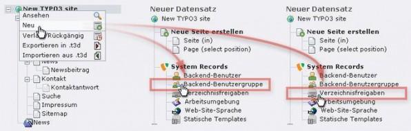 Abbildung 1: Datensätze für Backend-Benutzergruppen (links) und Verzeichnisfreigaben (rechts) erzeugen.