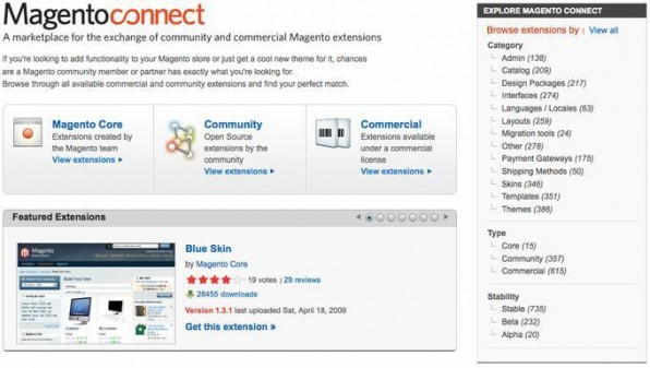 """Magentos Modulmarktplatz """"Connect"""" umfasst derzeit rund 1.000 kostenlose und kostenpflichtige Erweiterungen."""