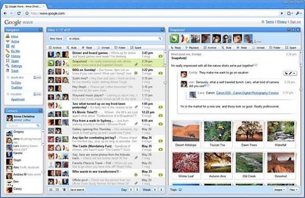 Die Standardoberfläche von Wave mutet wie E-Mail an, kann aber sehr viel mehr. Sie integriert unter anderem Features von Wikis und Instant Messaging.
