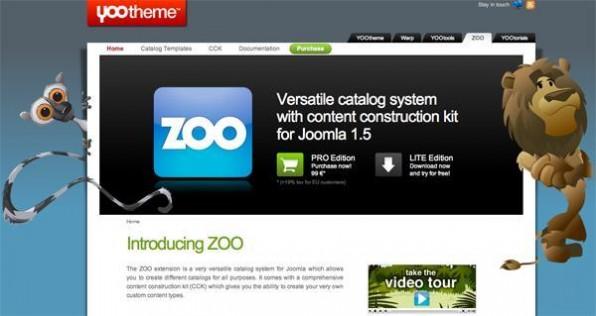 """YOOtheme bietet sein CCK """"Zoo"""" in einer kostenlosen Light-Version und als kostenpflichtige Pro-Version an."""