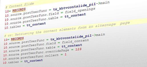 """Inhaltselemente lassen sich per TypoScript an Unterseiten vererben. Dank """"KB TV Content Slide"""" lässt sich diese Funktionalität auch mit TemplaVoilà nutzen."""
