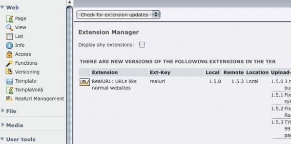 Seit TYPO3 4.2 informiert der Extension-Manager Admins über neue Versionen.