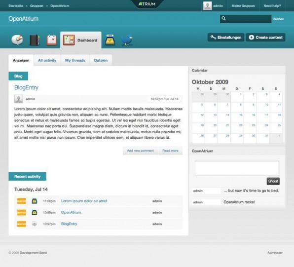 Das Dashboard bündelt alle Aktivitäten in OpenAtrium.