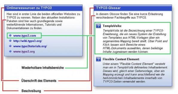 Abbildung 1: Screenshots der beiden erstellten Content-Elemente. Links die Quellenliste, rechts die Glossarliste.