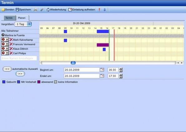 Zarafa erleichtert die Terminorganisation durch die Anzeige der Frei- und Gebuchtzeiten.