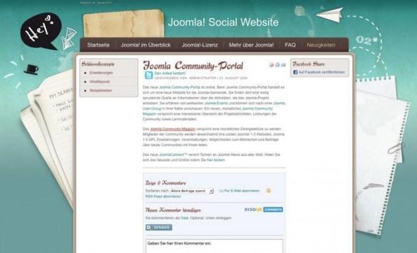 Dank schickem Template, Schnittstellen zu Twitter und Facebook und einer Kommentar-Funktion lädt diese exemplarische Joomla-Website ihre Besucher dazu ein, aktiv zu werden.