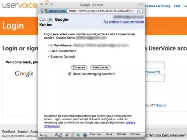 Ein OpenID-Login mit Google läuft mit nur wenigen Clicks denkbar einfach ab.