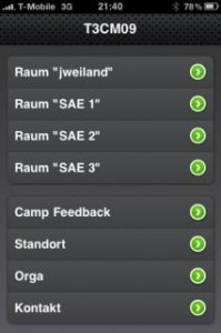 Die iPhone-Website zum TYPO3camp München 2009 setzt bei der Navigation auf eine zweigeteilte Listenansicht. Die einzelnen Räume bilden dabei eine Navigationsgruppe, alle anderen Punkte eine weitere.