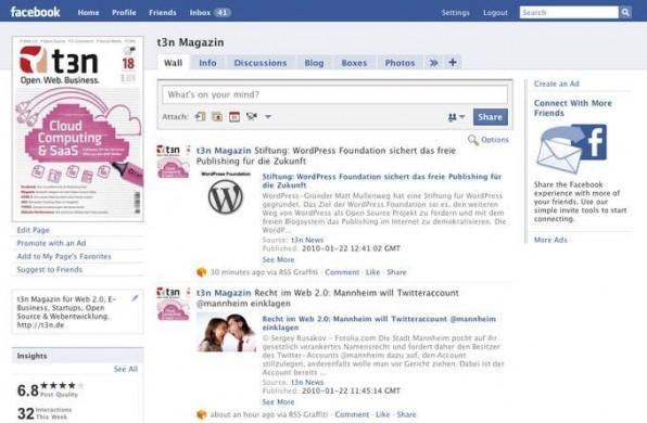 """Auf der Facebook-Fanpage von t3n werden die neuen Artikel von t3n.de über die App """"RSS Graffiti"""" veröffentlicht."""