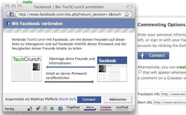 Facebook Connect verbindet den Single-Sign-On mit den Elementen des Social-Web und erlaubt unter anderem die Autentifizierung auf Techcrunch.