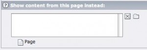 """Mit der Option """"Show content from this page instead"""" lassen sich bestehende Inhalte referenzieren."""