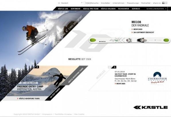 Obwohl die Startseite der KÄSTLE-Ski-Website auf dynamische Flash-Elemente setzt, können Redakteure die Inhalte wie gewohnt im TYPO3-Backend pflegen.