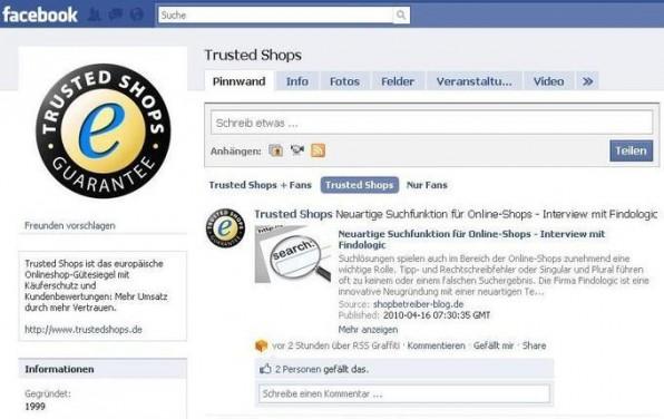 Fanseiten auf Facebook wie hier  von Trusted Shops entwickeln sich zu einem bedeutenden Marketingkanal.