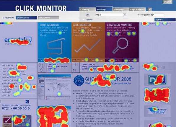 Econda bietet eine Reihe von Visualisierungen der Besucherbewegungen. Hier eine Heatmap, also die kumulierte Anzahl von Klicks mit der linken Maustaste auf die Live-Page (unabhängig davon, ob dort ein Link sitzt oder nicht).