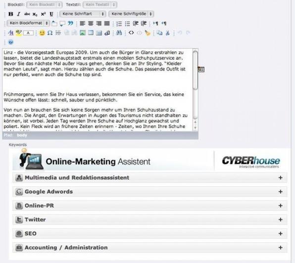 Der Online-Marketing Assistent lässt sich einfach in Seitenelemente eines CMS einbinden.