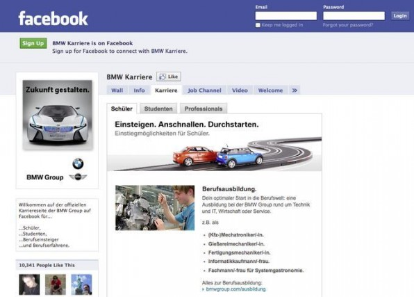 Einige Unternehmen wie BMW nutzen Karriereseiten bei Facebook zum Personalmarketing.