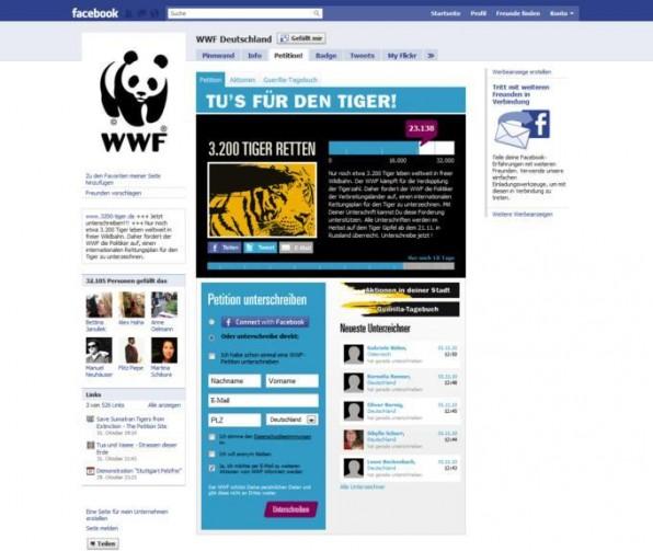 Unternehmen haben viele Möglichkeiten bei der Gestaltung einer Fanpage. Die Facebook-Seite vom WWF bietet beispielsweise viele Extra-Features.
