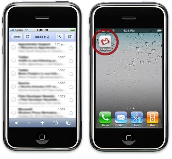 Googles GMail-Web-App versteckt – im iPhone-Browser geöffnet – das Adressfeld, um die Bildschirmfläche effizient zu nutzen. Auf dem Home-Screen lassen sich Verknüpfungen zu Websites mit individuellen Icons anlegen. Durch spezielle Meta-Informationen legt man zudem einen Lade-Screen und das Farbschema der Titelleiste fest.
