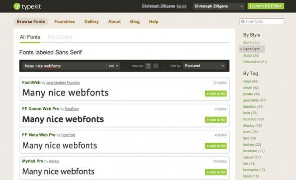 Webdienste wie Typekit machen es Website-Betreibern und Webdesignern leicht, ansprechende Fonts in ihre Website einzubinden.