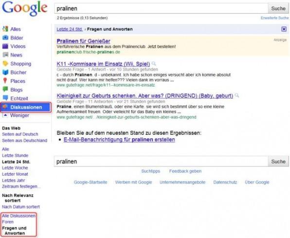 Google bietet sich auch zum Auffinden aktueller Diskussionen an.