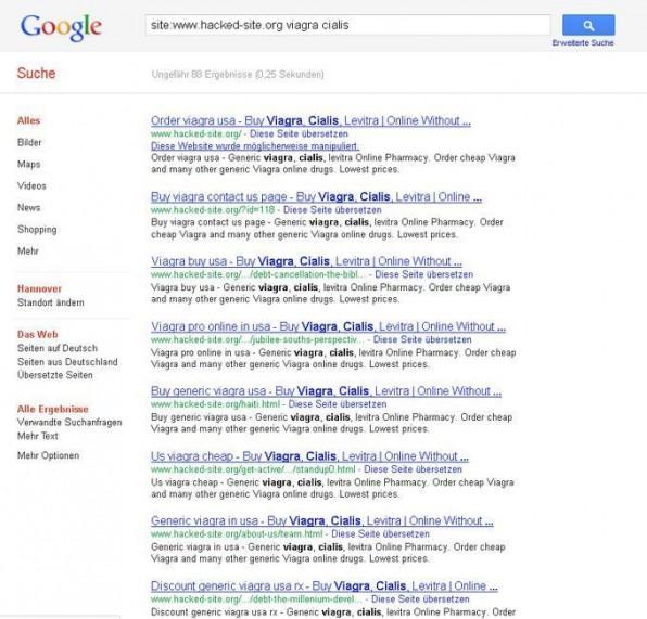 """Eine Site-spezifische Google-Suche nach Begriffen wie """"Viagra"""" gibt Aufschluss darüber, ob ein Website manipuliert wurde."""