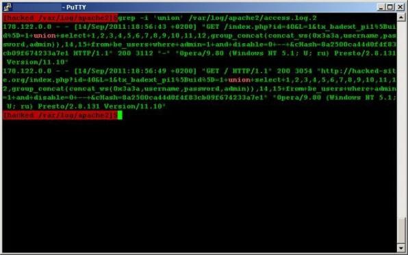 Das Apache-Access-Log gibt Aufschluss über augenutzte SQL-Injection-Lücken.