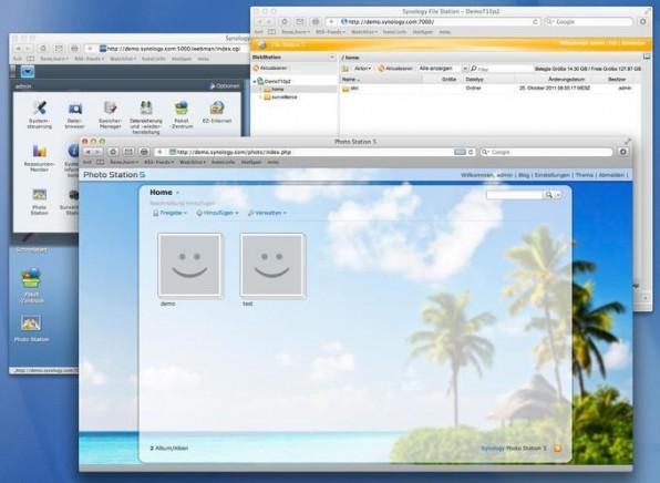 Die Oberfläche der Synology DiskStation: Das NAS-System bietet ähnlich wie die Webdesktops Carbyn und Jolicloud das komplette Look & Feel eines Betriebssystems – egal, an welchem Rechner sich sein Nutzer befindet.