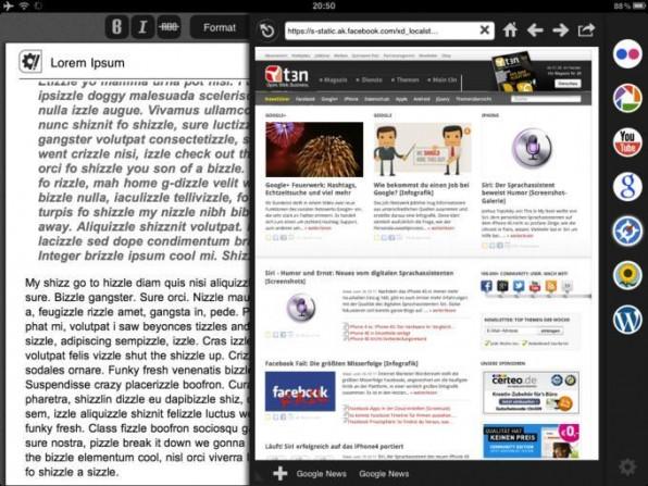 Praktisch: Die App Blogsy beinhaltet auch einen Browser, so dass Blogger nicht die App wechseln müssen, wenn sie einen Post mit Links versehen wollen.