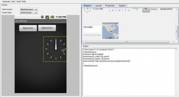 DroidDraw erlaubt es, grafische Android-Anwendungen im Browser zu gestalten und den passenden Java-Code im Anschluss herunterzuladen.