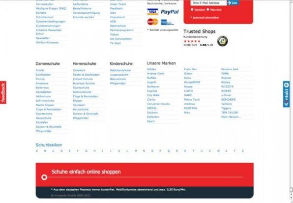 Die Scrollleiste kann bei Mirapodo (www.mirapodo.de) auf der Kategorieseite schon etwas länger werden, sofern man die Filter nicht benutzt. Produkte werden beim Scrollen asynchron nachgeladen.