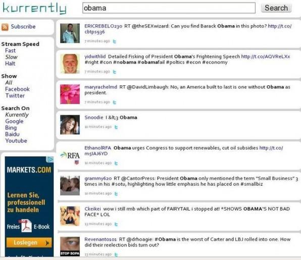Kurrently, die Real-Time-Suchmaschine für Facebook und Twitter, listet Tweets und Statusmeldungen zu eingegebenen Stichwörtern auf.