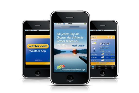 Mobile Werbung von Lätta bei Start der wetter.com App (Quelle: YOC AG)