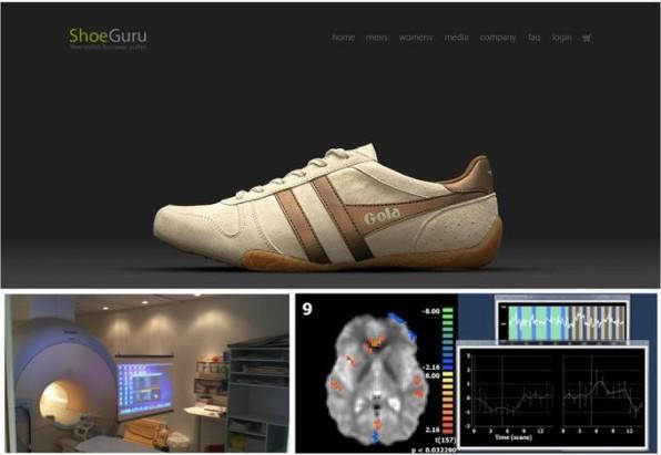 Die Startseite des Onlineshops ShoeGuru erzeugte bei Studienprobanden erhöhte Aktivität im Nucleus Accumbens, dem Belohnungssystem im Gehirn.