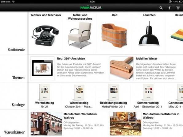 Gelungene Portierung eines Katalogs auf Tablet-Devices bei Manufactum, das die speziellen Eigenschaften dieses Gerätetyps beispielhaft nutzt.