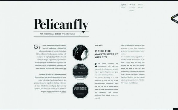 Eine große Logotypografie und viel Weißraum lässt eine Website kontrastreich erscheinen.
